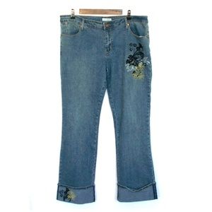 F.L. Jeans Medium Wash Embroidered Bootcut Jeans